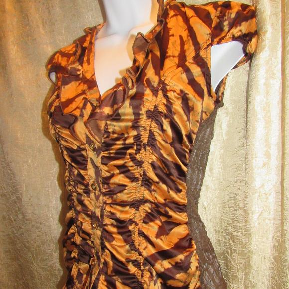 XOXO Tops - Tiger Stripe Animal Print Shirred Ruffled Top EUC